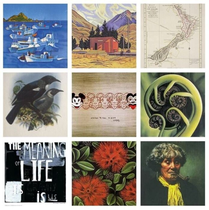 A Collage of iconic artworks available at New Zealand Fine Prints