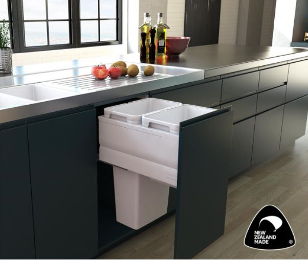 Fit LTD Tanova pull-out kitchen bin with white buckets in charcoal grey cabinet.