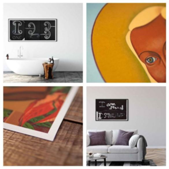 A collage of technically perfect modern art prints of famous paintings created by leading New Zealand artists.