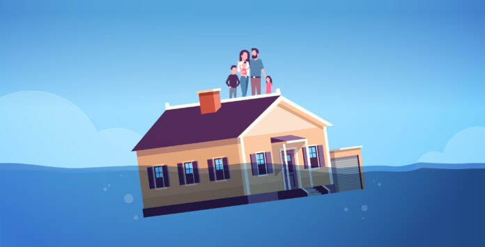 House With Family Sinking